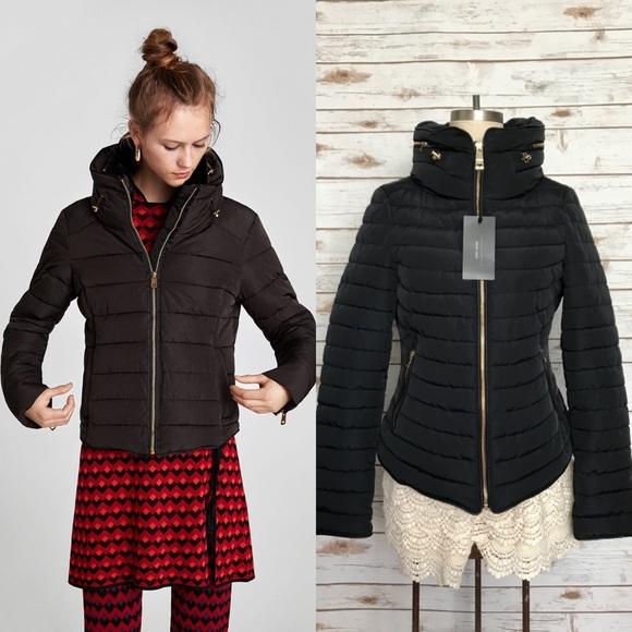 c30d1c6d67 ZARA Quilted Puffer Coat Hood Faux Fur Collar NWT NWT